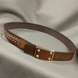 Leather belt with gold metal studs size L